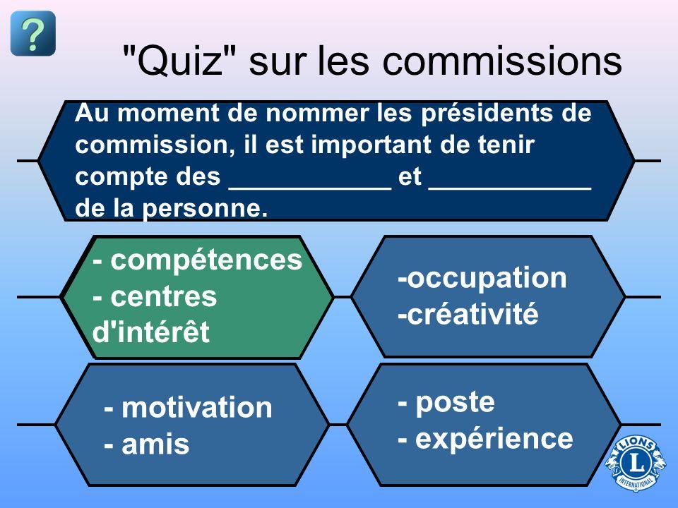 Quiz sur les commissions Au moment de nommer les présidents de commission, il est important de tenir compte des ___________ et ___________ de la personne.