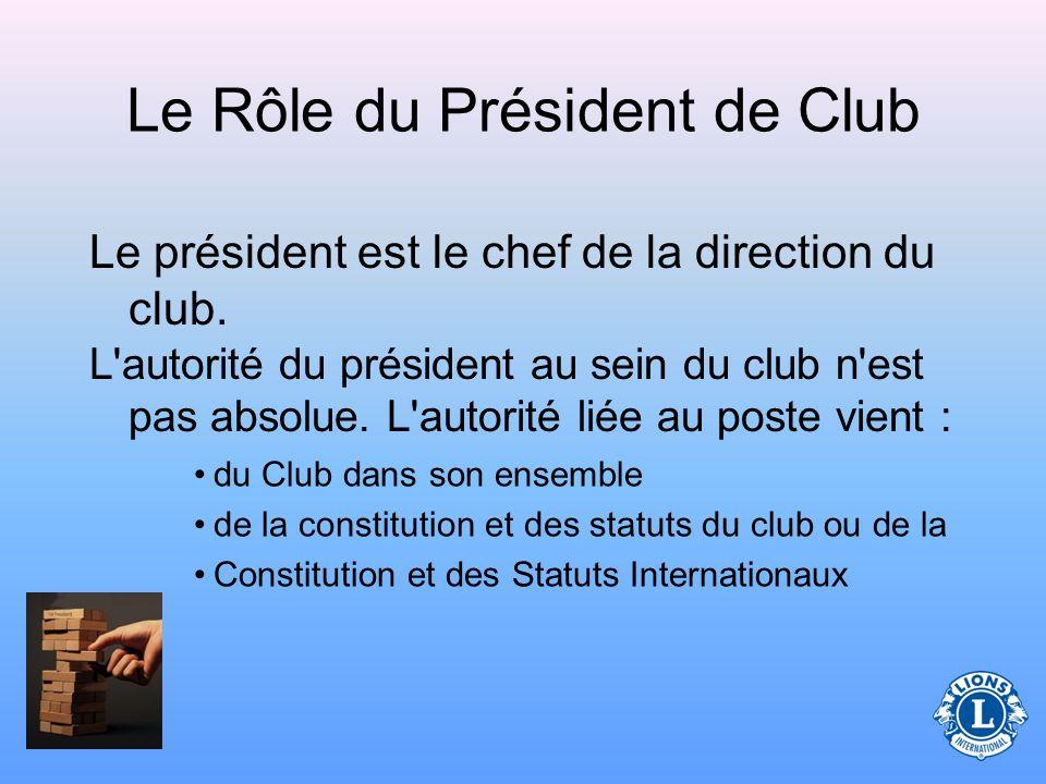 Quel est le rôle du Président de Club ?