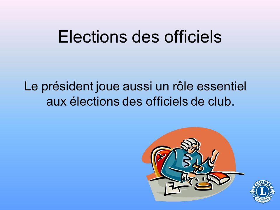 Elections des officiels Le président joue aussi un rôle essentiel aux élections des officiels de club.