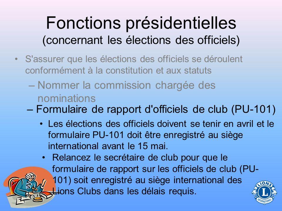 Fonctions présidentielles (concernant les élections des officiels) La Commission des Nominations présente les noms des candidats aux différents postes dans le club aux effectifs du club.