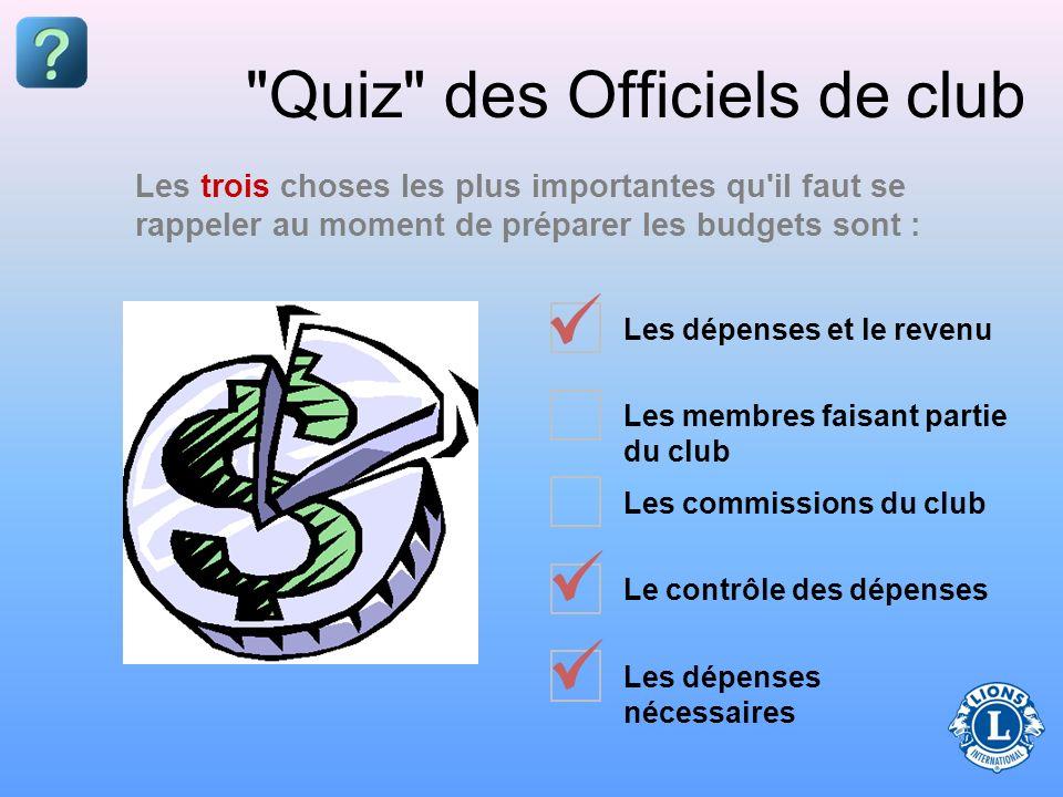 Les dépenses et le revenu Les membres faisant partie du club Les commissions du club Le contrôle des dépenses Les dépenses nécessaires Quiz des Officiels de club Les trois choses les plus importantes qu il faut se rappeler au moment de préparer les budgets sont :