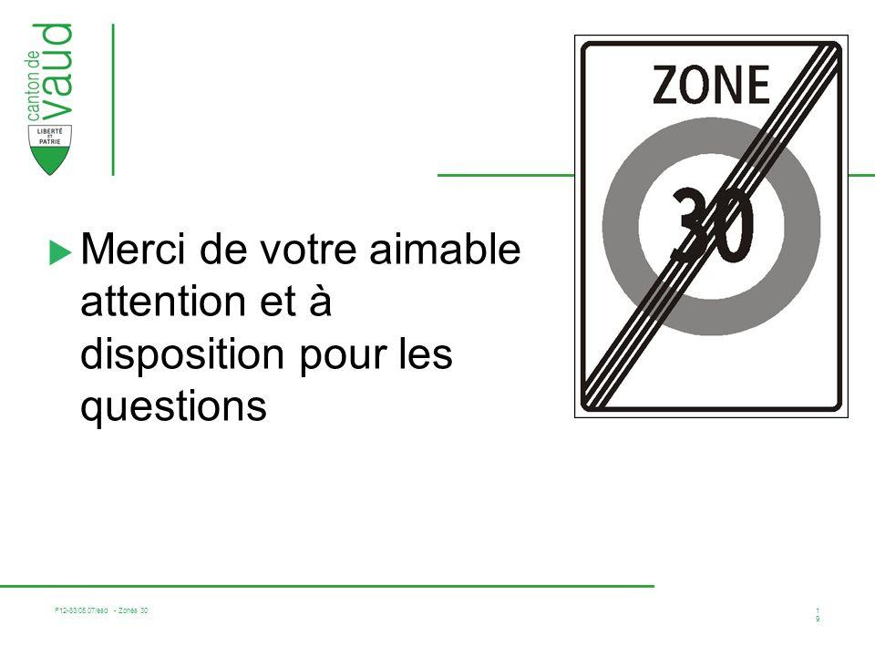 F12-83/05.07/esd - Zones 30 19 Merci de votre aimable attention et à disposition pour les questions