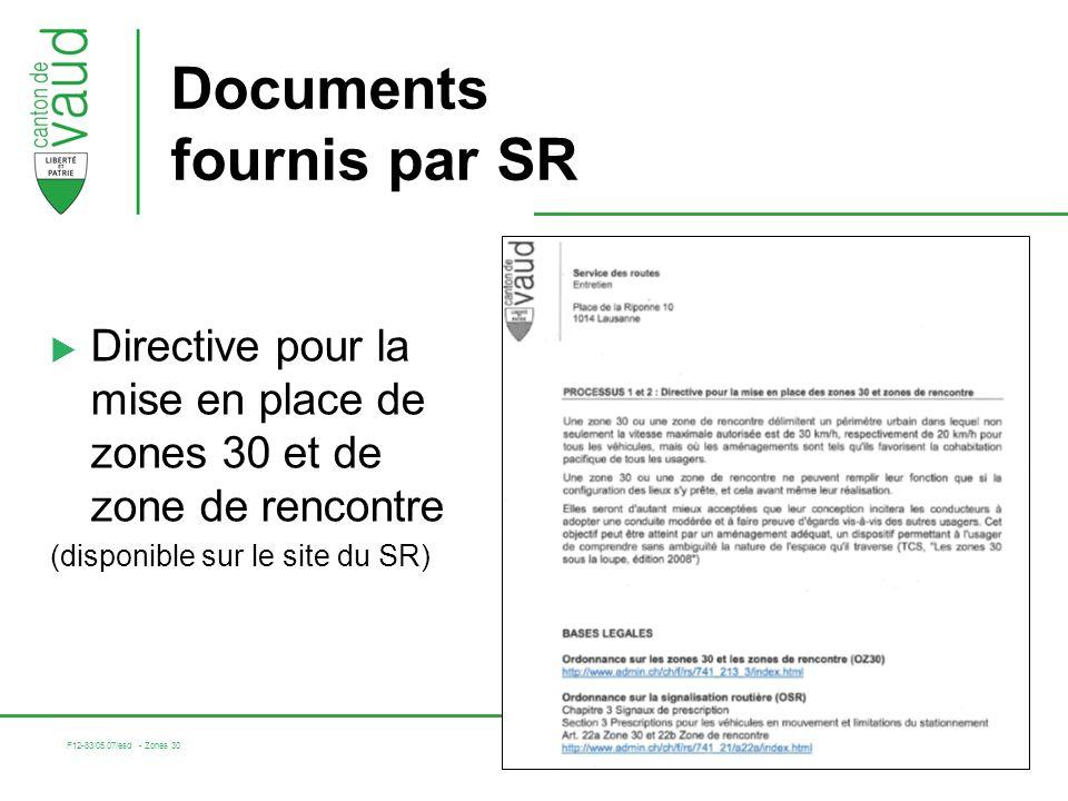 F12-83/05.07/esd - Zones 30 5 Documents fournis par SR Directive pour la mise en place de zones 30 et de zone de rencontre (disponible sur le site du SR)