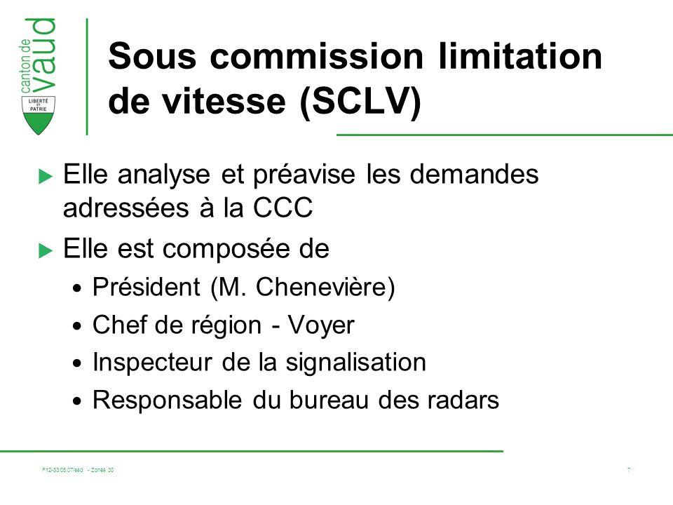 F12-83/05.07/esd - Zones 30 7 Sous commission limitation de vitesse (SCLV) Elle analyse et préavise les demandes adressées à la CCC Elle est composée de Président (M.
