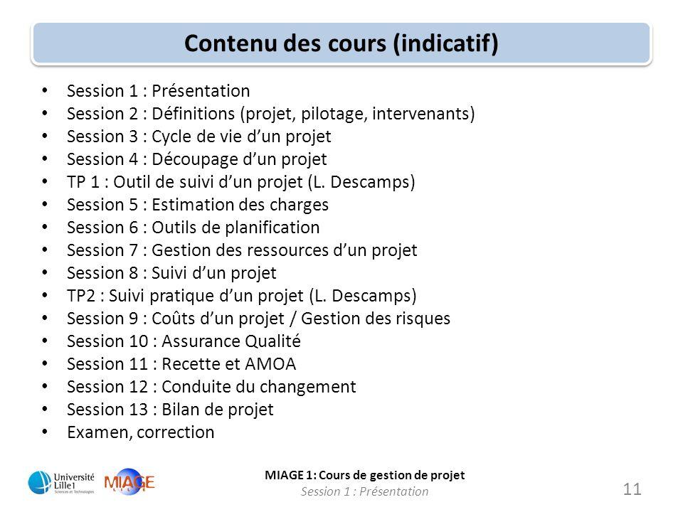 MIAGE 1: Cours de gestion de projet Session 1 : Présentation Contenu des cours (indicatif) Session 1 : Présentation Session 2 : Définitions (projet, p