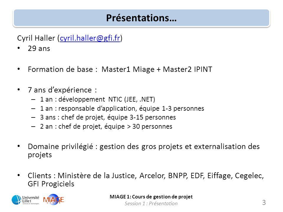 MIAGE 1: Cours de gestion de projet Session 1 : Présentation Présentations… Cyril Haller (cyril.haller@gfi.fr)cyril.haller@gfi.fr 29 ans Formation de
