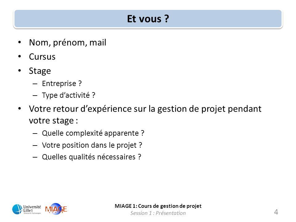 MIAGE 1: Cours de gestion de projet Session 1 : Présentation Et vous ? Nom, prénom, mail Cursus Stage – Entreprise ? – Type dactivité ? Votre retour d