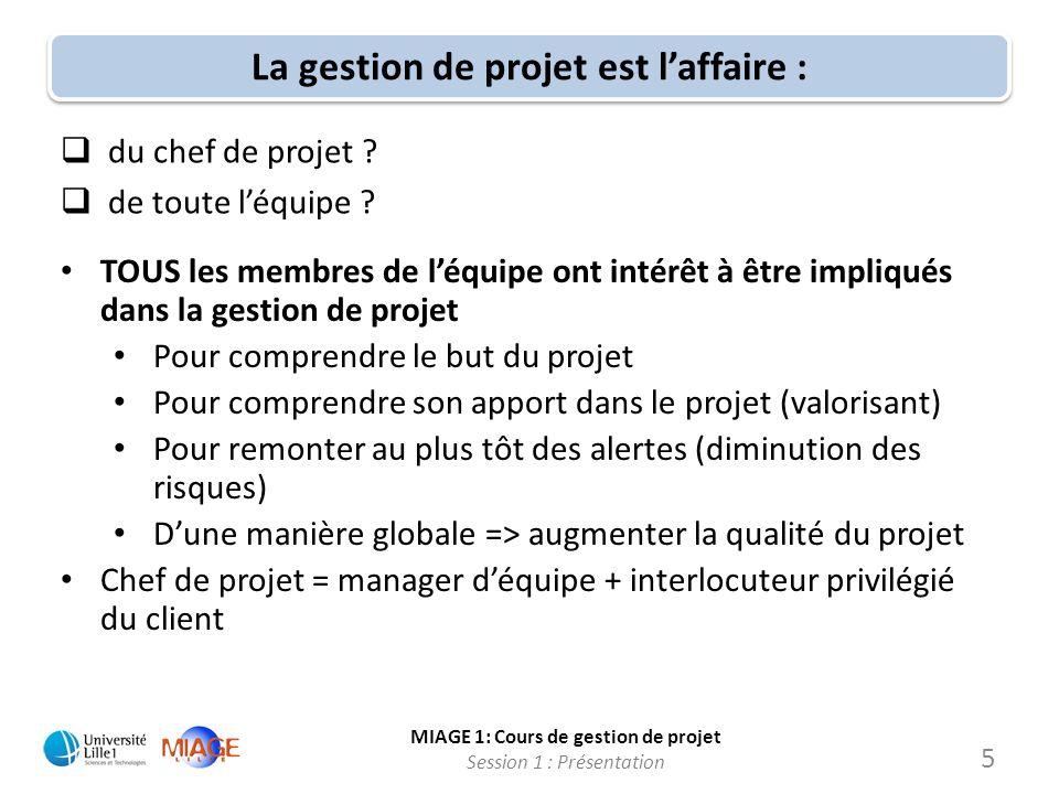 MIAGE 1: Cours de gestion de projet Session 1 : Présentation La gestion de projet est laffaire : du chef de projet ? de toute léquipe ? 5 TOUS les mem