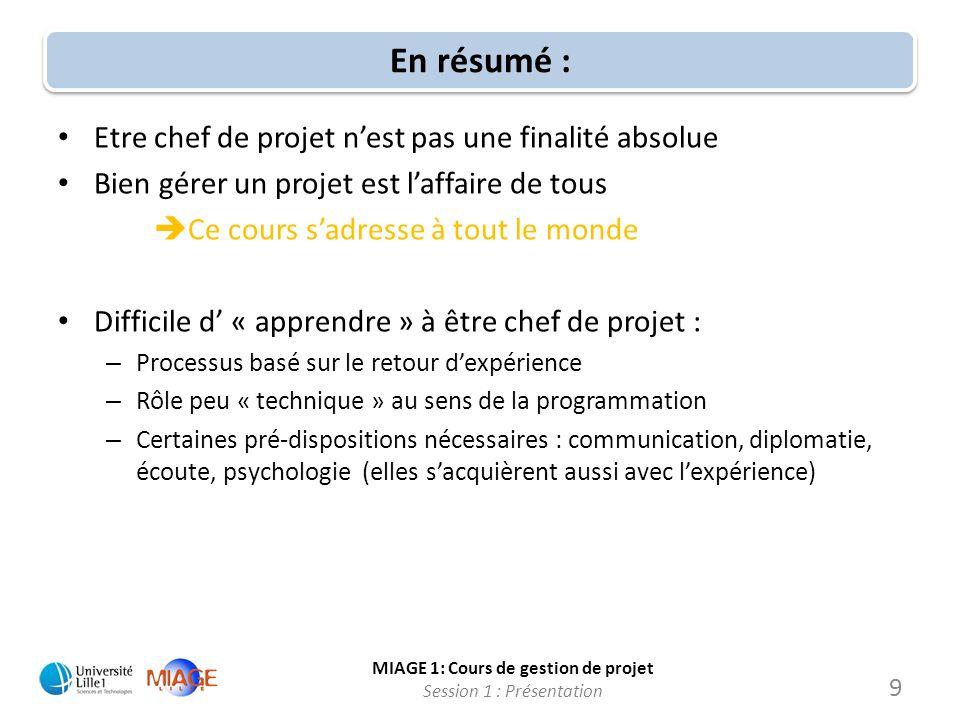 MIAGE 1: Cours de gestion de projet Session 1 : Présentation En résumé : Etre chef de projet nest pas une finalité absolue Bien gérer un projet est la