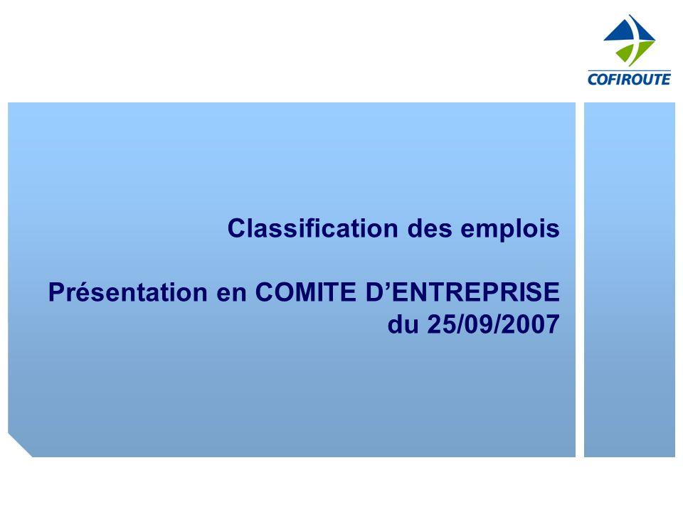 Classification des emplois Présentation en COMITE DENTREPRISE du 25/09/2007