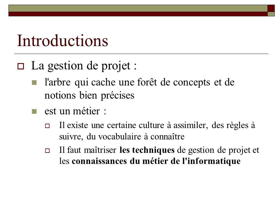 Introductions La gestion de projet : l'arbre qui cache une forêt de concepts et de notions bien précises est un métier : Il existe une certaine cultur