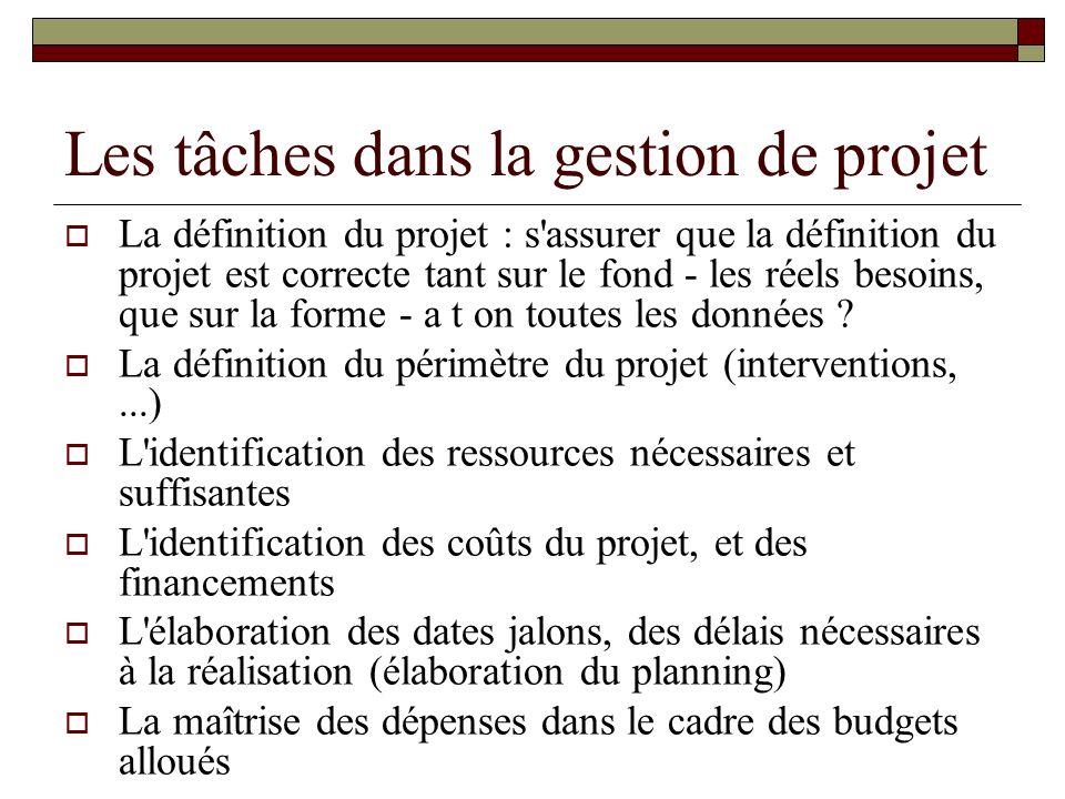 Les tâches dans la gestion de projet La définition du projet : s'assurer que la définition du projet est correcte tant sur le fond - les réels besoins