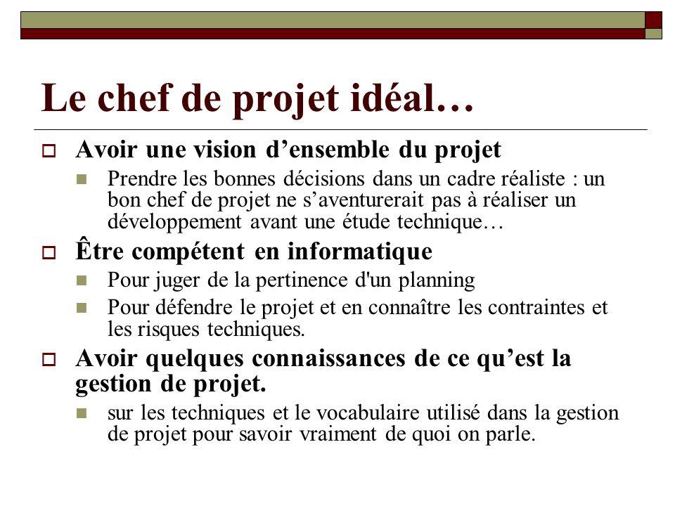 Le chef de projet idéal… Avoir une vision densemble du projet Prendre les bonnes décisions dans un cadre réaliste : un bon chef de projet ne saventure