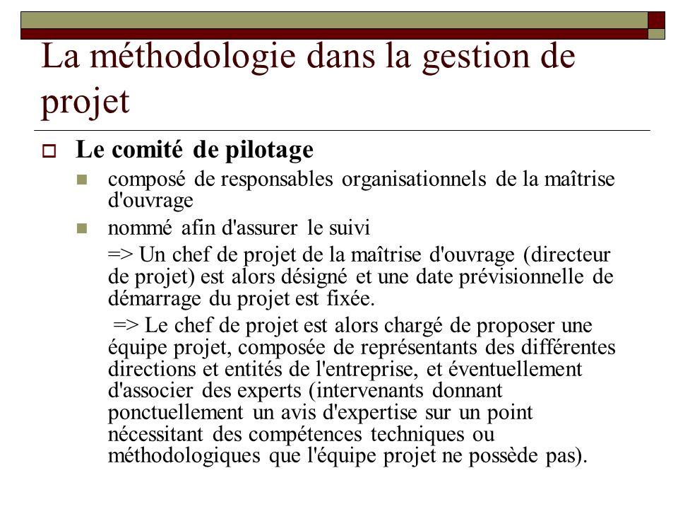 La méthodologie dans la gestion de projet Le comité de pilotage composé de responsables organisationnels de la maîtrise d'ouvrage nommé afin d'assurer
