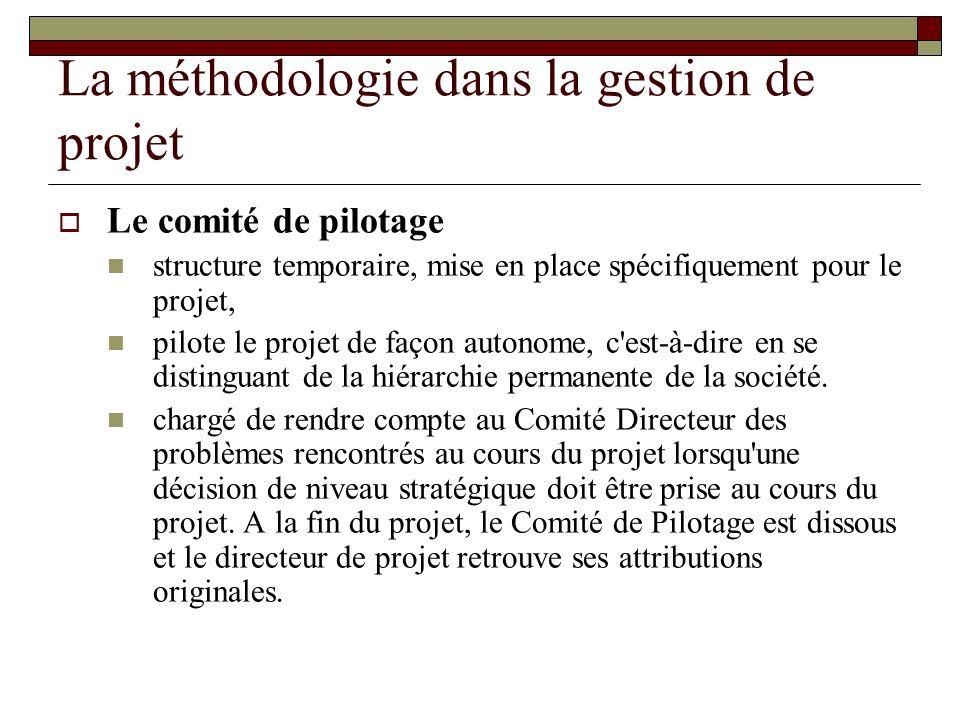 La méthodologie dans la gestion de projet Le comité de pilotage structure temporaire, mise en place spécifiquement pour le projet, pilote le projet de