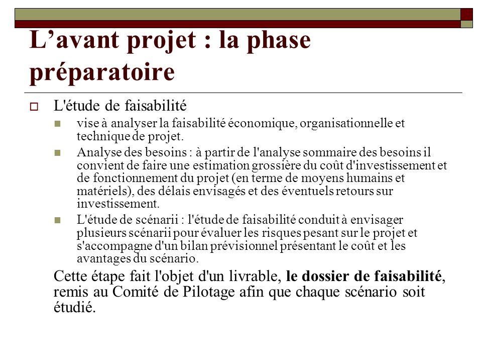 Lavant projet : la phase préparatoire L'étude de faisabilité vise à analyser la faisabilité économique, organisationnelle et technique de projet. Anal