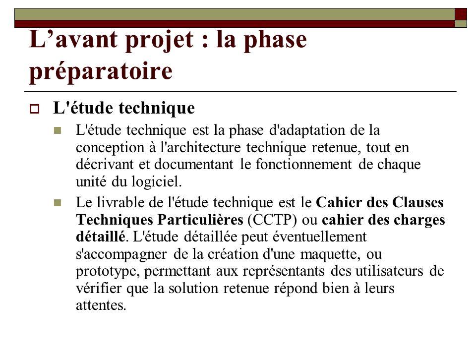 Lavant projet : la phase préparatoire L'étude technique L'étude technique est la phase d'adaptation de la conception à l'architecture technique retenu
