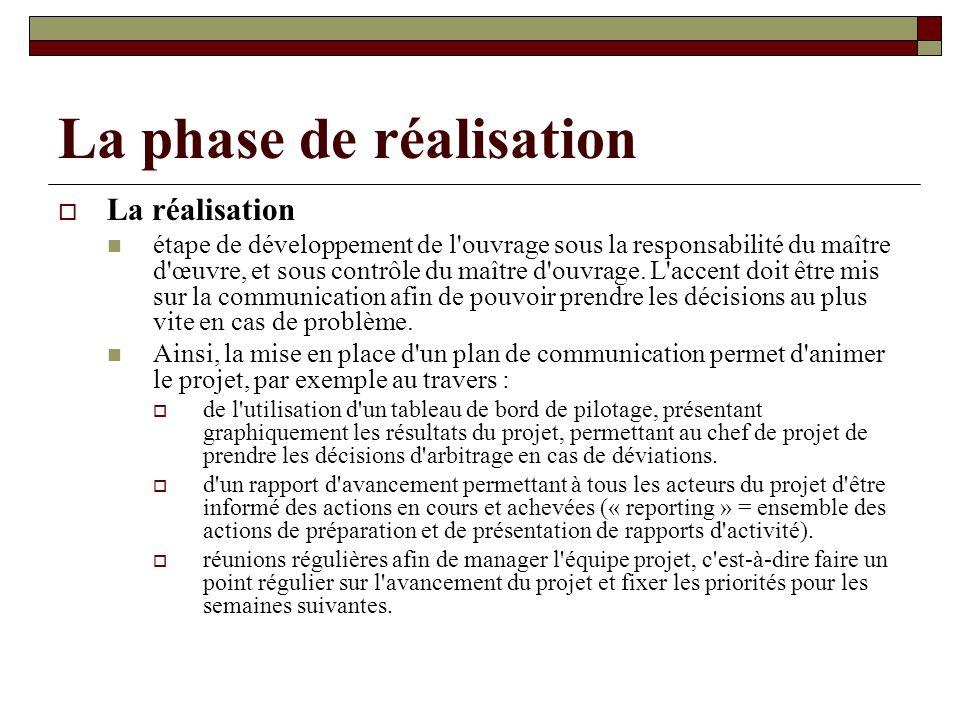 La phase de réalisation La réalisation étape de développement de l'ouvrage sous la responsabilité du maître d'œuvre, et sous contrôle du maître d'ouvr