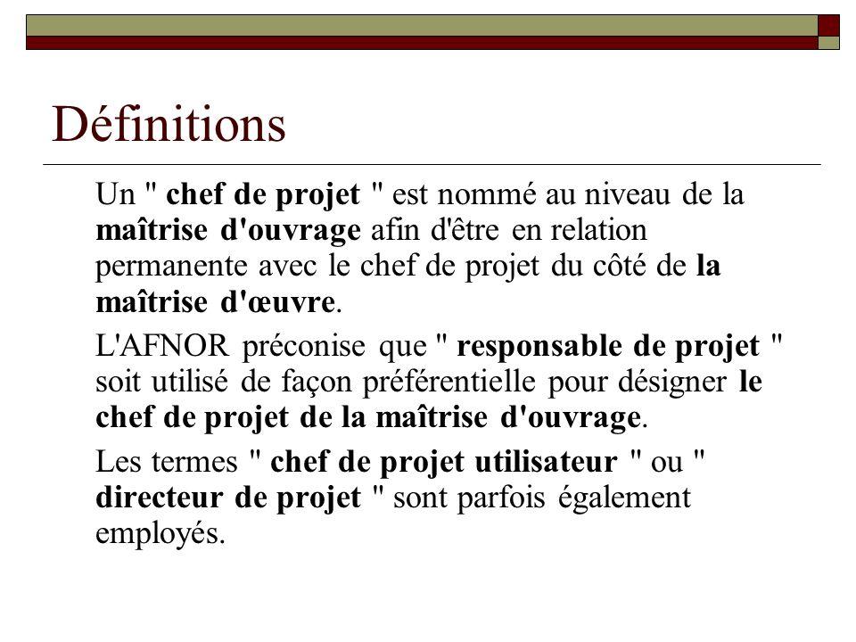 Définitions Dans le cas de, le maître d ouvrage peut nommer une Direction de projet (projets importants) : équipe nommer par le maître douvrage aide dans la gestion du projet, dans les décisions stratégiques, politiques et de définition des objectifs.