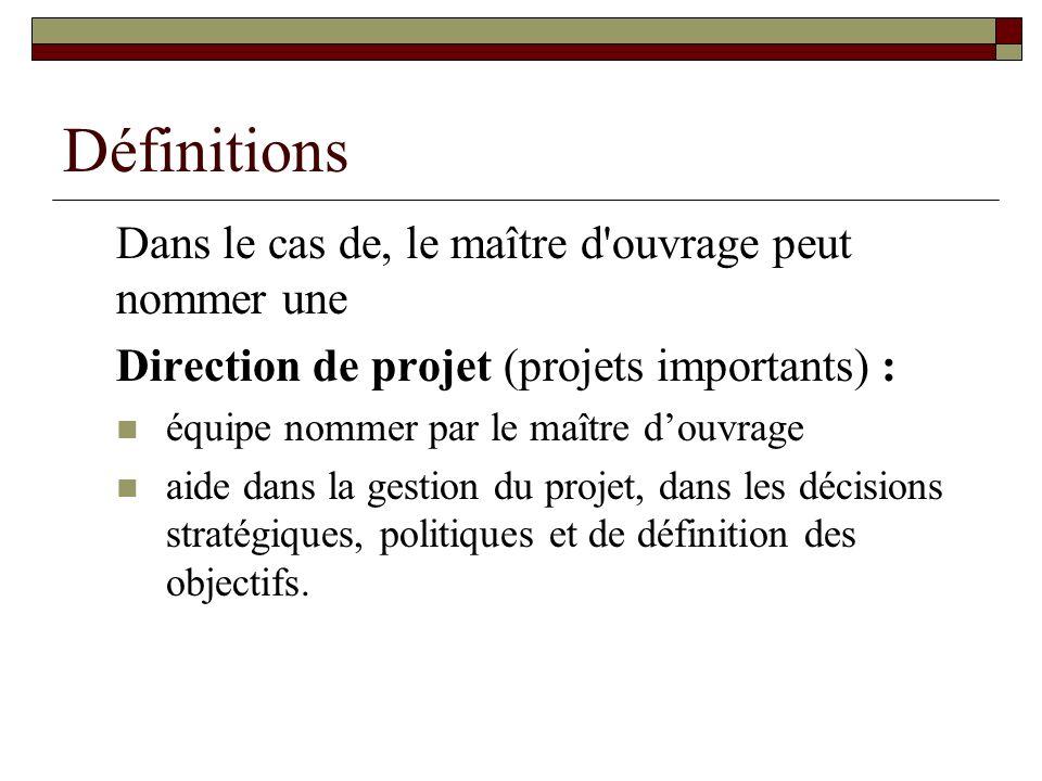 Définitions Dans le cas de, le maître d'ouvrage peut nommer une Direction de projet (projets importants) : équipe nommer par le maître douvrage aide d