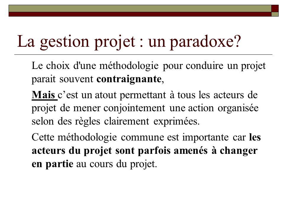 La gestion projet : un paradoxe? Le choix d'une méthodologie pour conduire un projet parait souvent contraignante, Mais cest un atout permettant à tou