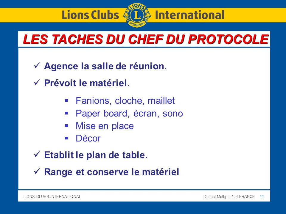 LIONS CLUBS INTERNATIONALDistrict Multiple 103 FRANCE 11 Agence la salle de réunion.