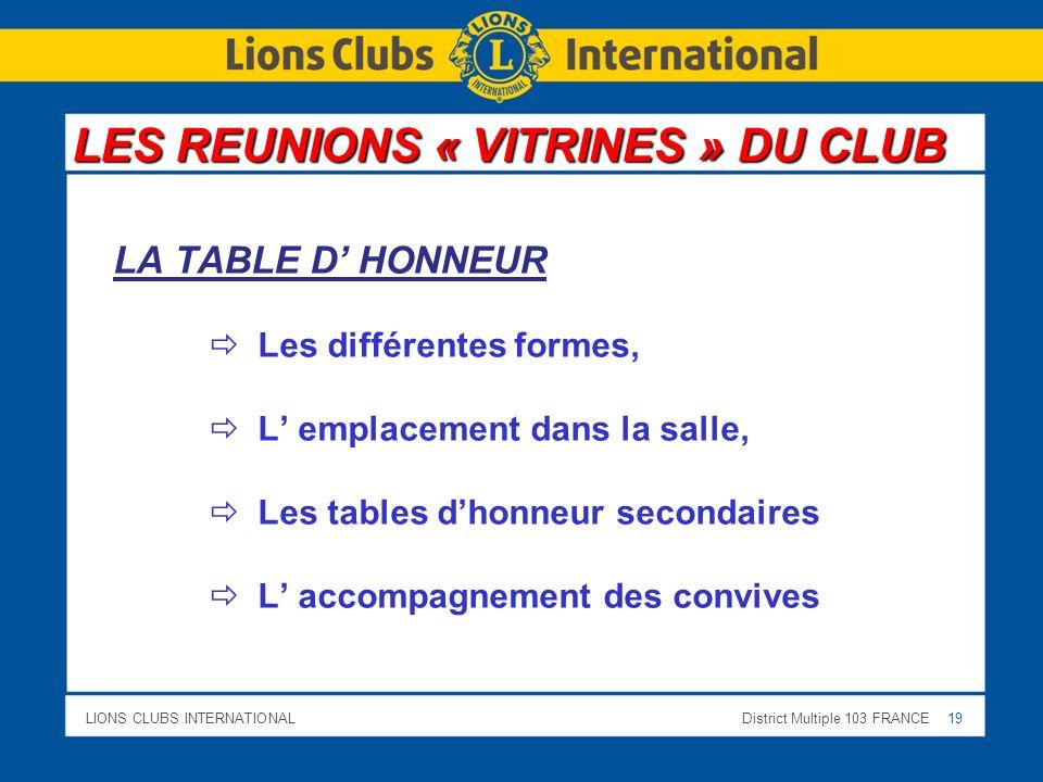 LIONS CLUBS INTERNATIONALDistrict Multiple 103 FRANCE 19 LA TABLE D HONNEUR Les différentes formes, L emplacement dans la salle, Les tables dhonneur s