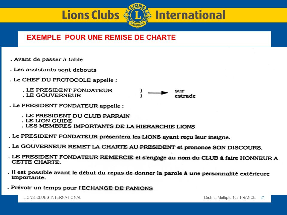 LIONS CLUBS INTERNATIONALDistrict Multiple 103 FRANCE 21 EXEMPLE POUR UNE REMISE DE CHARTE
