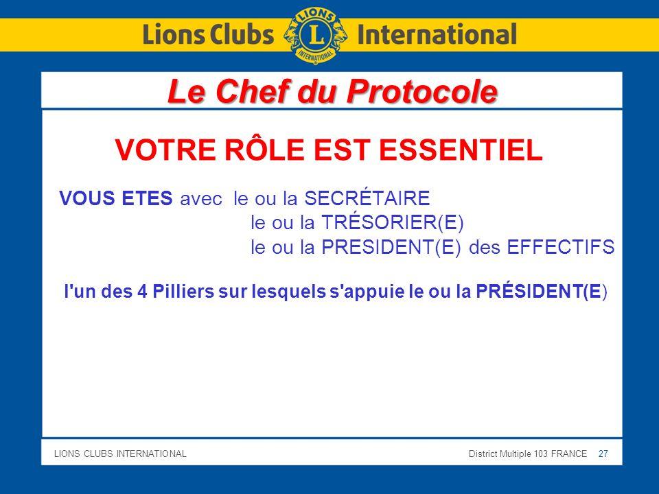 LIONS CLUBS INTERNATIONALDistrict Multiple 103 FRANCE 27 VOUS ETES avec le ou la SECRÉTAIRE le ou la TRÉSORIER(E) le ou la PRESIDENT(E) des EFFECTIFS