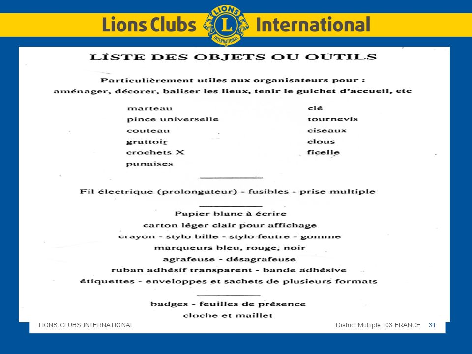 LIONS CLUBS INTERNATIONALDistrict Multiple 103 FRANCE 31