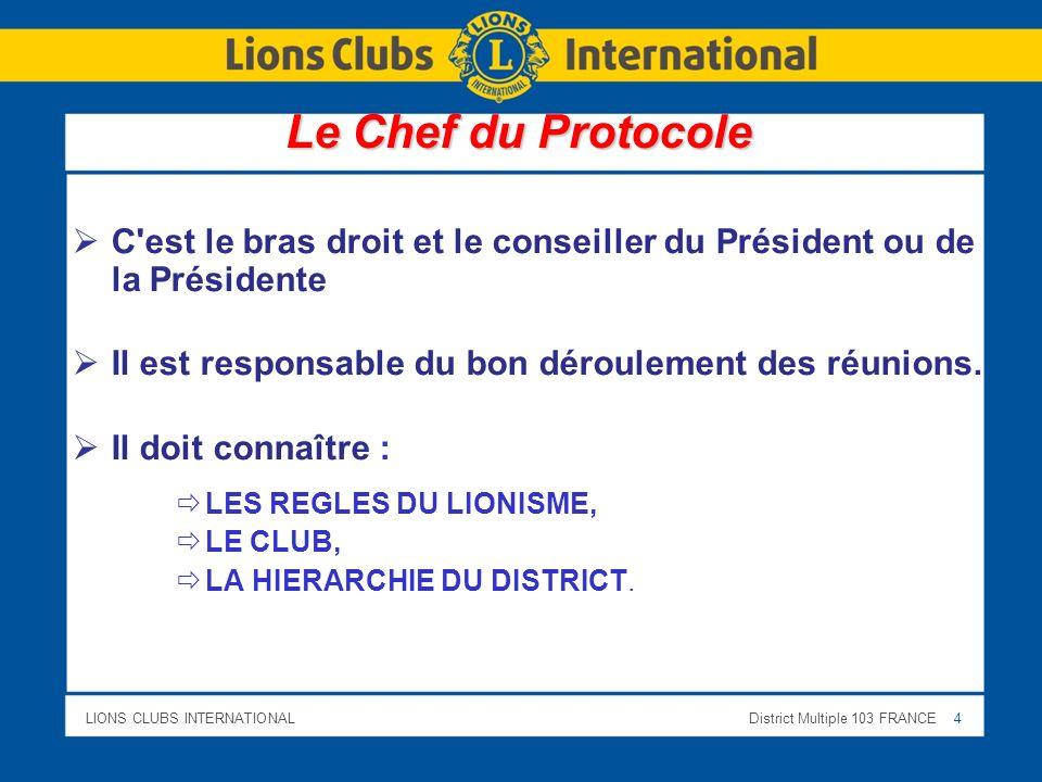 LIONS CLUBS INTERNATIONALDistrict Multiple 103 FRANCE 15 Le respect des règles de préséance: La PLACE du PRESIDENT ou de la PRESIDENTE, La PRESEANCE dans le LIONS CLUB, La PRESEANCE dans l ÉTAT FRANCAIS.