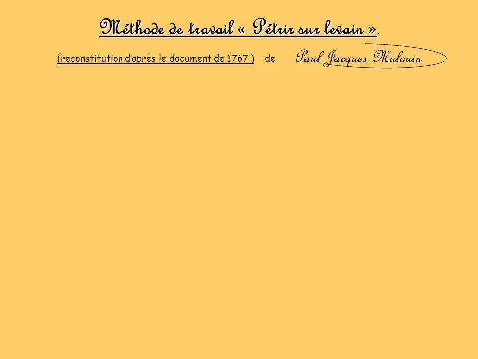 Méthode de travail « Pétrir sur levain ». (reconstitution daprès le document de 1767 ) de Paul Jacques Malouin