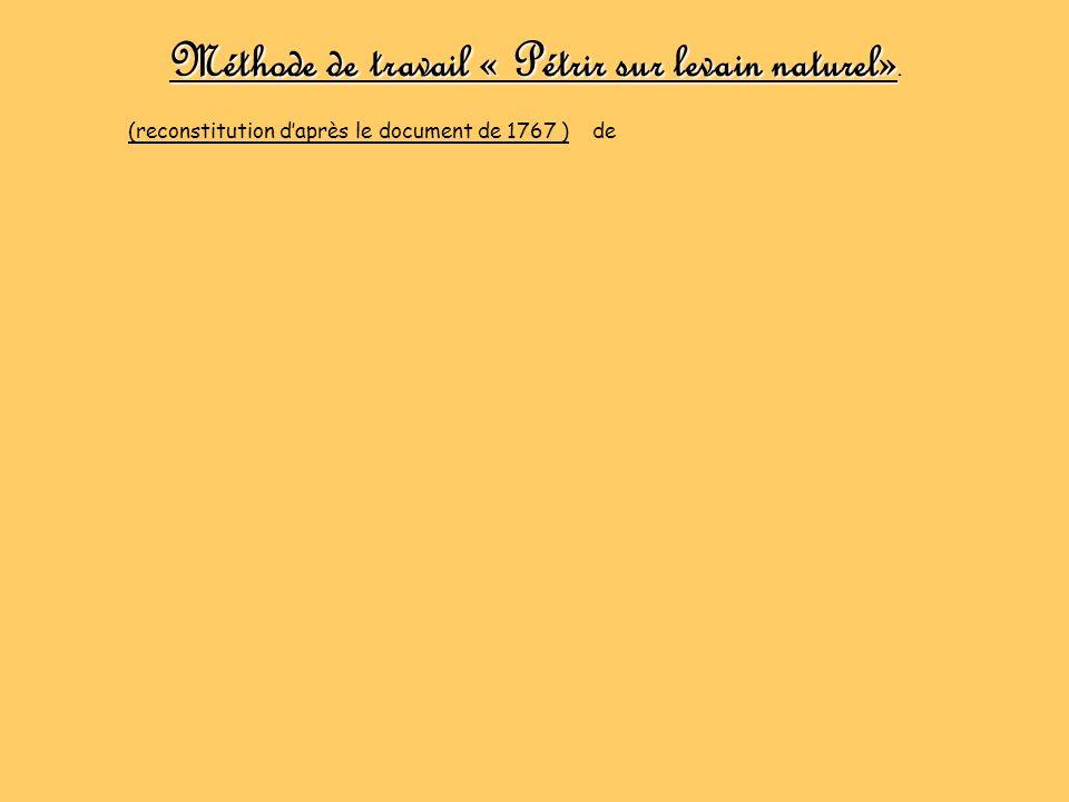 Méthode de travail « Pétrir sur levain naturel». (reconstitution daprès le document de 1767 ) de Paul Jacques Malouin