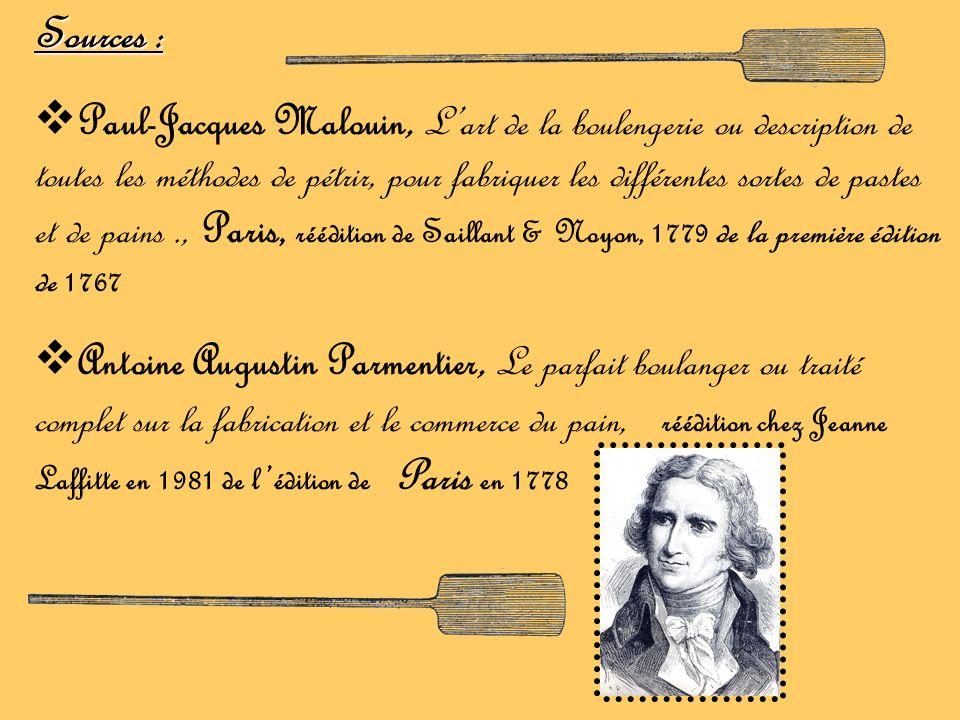 Sources : Paul-Jacques Malouin, Lart de la boulengerie ou description de toutes les méthodes de pétrir, pour fabriquer les différentes sortes de paste