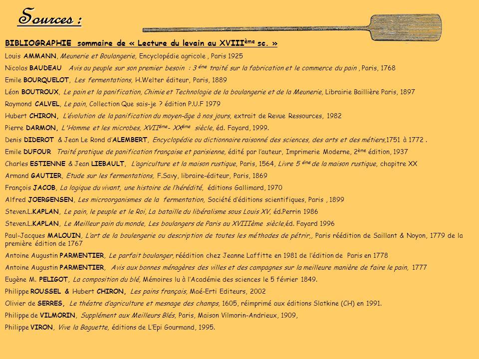 Sources : BIBLIOGRAPHIE sommaire de « Lecture du levain au XVIII ème sc. » Louis AMMANN, Meunerie et Boulangerie, Encyclopédie agricole, Paris 1925 Ni