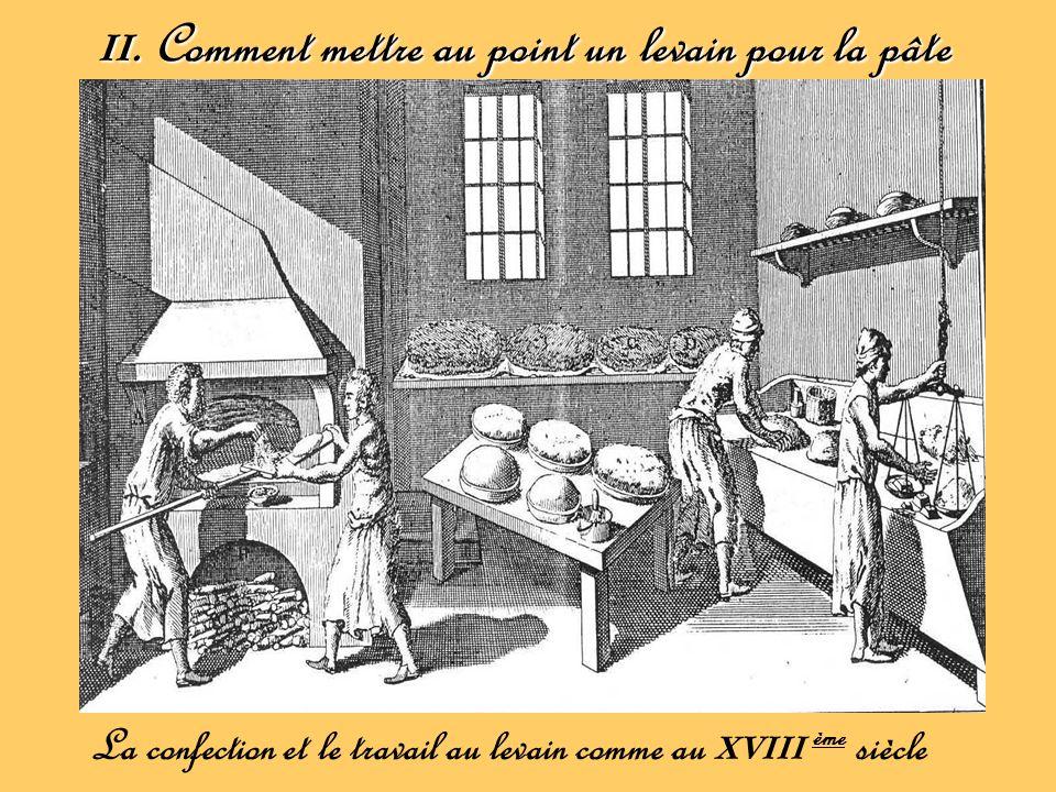 II. Comment mettre au point un levain pour la pâte La confection et le travail au levain comme au XVIII ème siècle