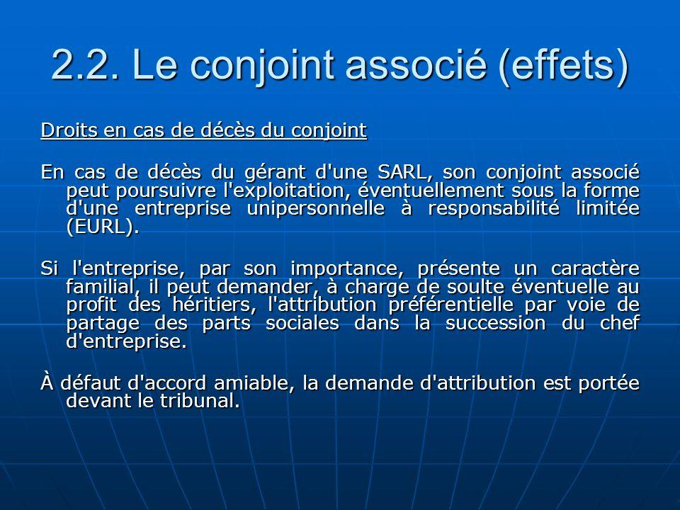 2.2. Le conjoint associé (effets) Droits en cas de décès du conjoint En cas de décès du gérant d'une SARL, son conjoint associé peut poursuivre l'expl