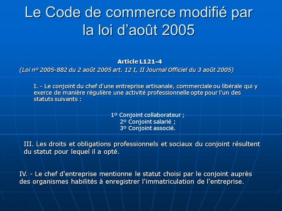 Le Code de commerce modifié par la loi daoût 2005 Article L121-4 (Loi nº 2005-882 du 2 août 2005 art. 12 I, II Journal Officiel du 3 août 2005) I. - L