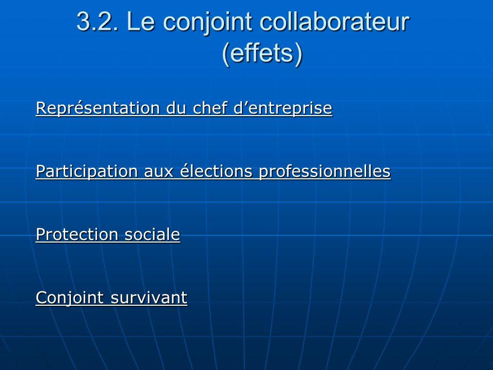 3.2. Le conjoint collaborateur (effets) Représentation du chef dentreprise Participation aux élections professionnelles Protection sociale Conjoint su