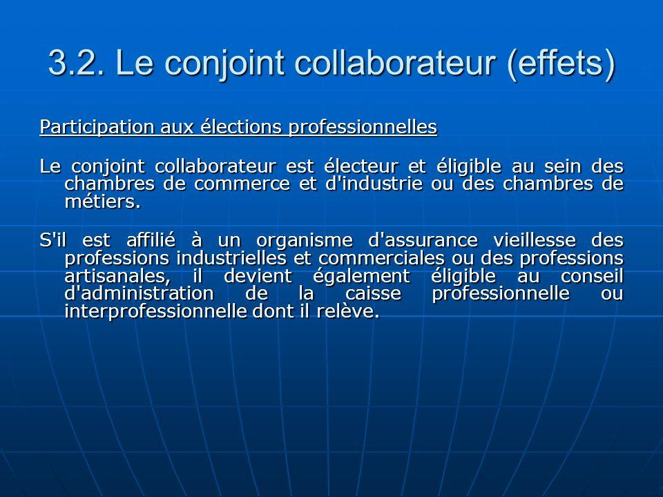 3.2. Le conjoint collaborateur (effets) Participation aux élections professionnelles Le conjoint collaborateur est électeur et éligible au sein des ch