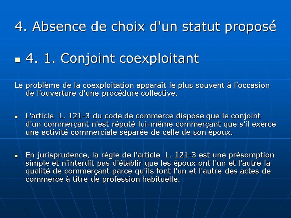 4. Absence de choix d'un statut proposé 4. 1. Conjoint coexploitant 4. 1. Conjoint coexploitant Le problème de la coexploitation apparaît le plus souv