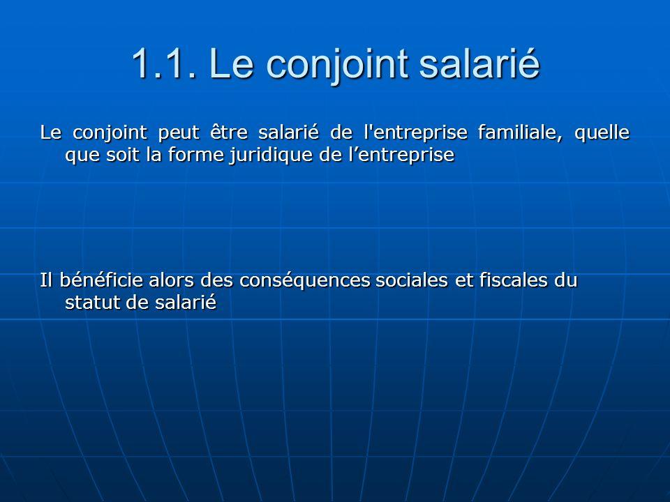 1.1. Le conjoint salarié Le conjoint peut être salarié de l'entreprise familiale, quelle que soit la forme juridique de lentreprise Il bénéficie alors