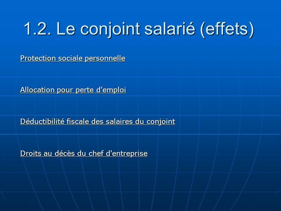 4.Absence de choix d un statut proposé 4. 2. Conjoint assistant 4.