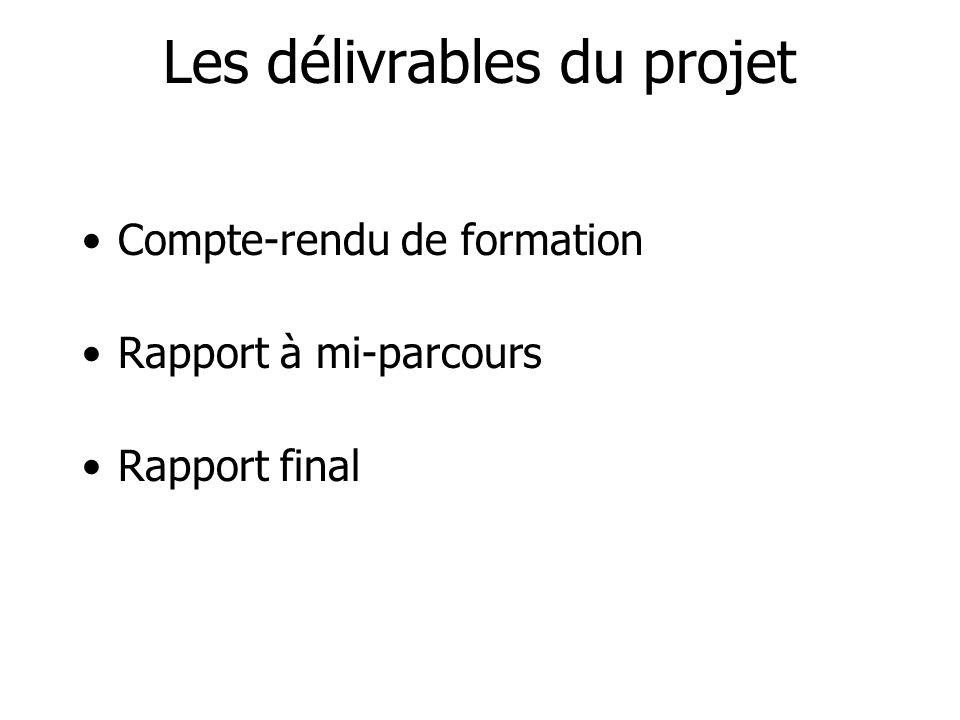 Les délivrables du projet Compte-rendu de formation Rapport à mi-parcours Rapport final