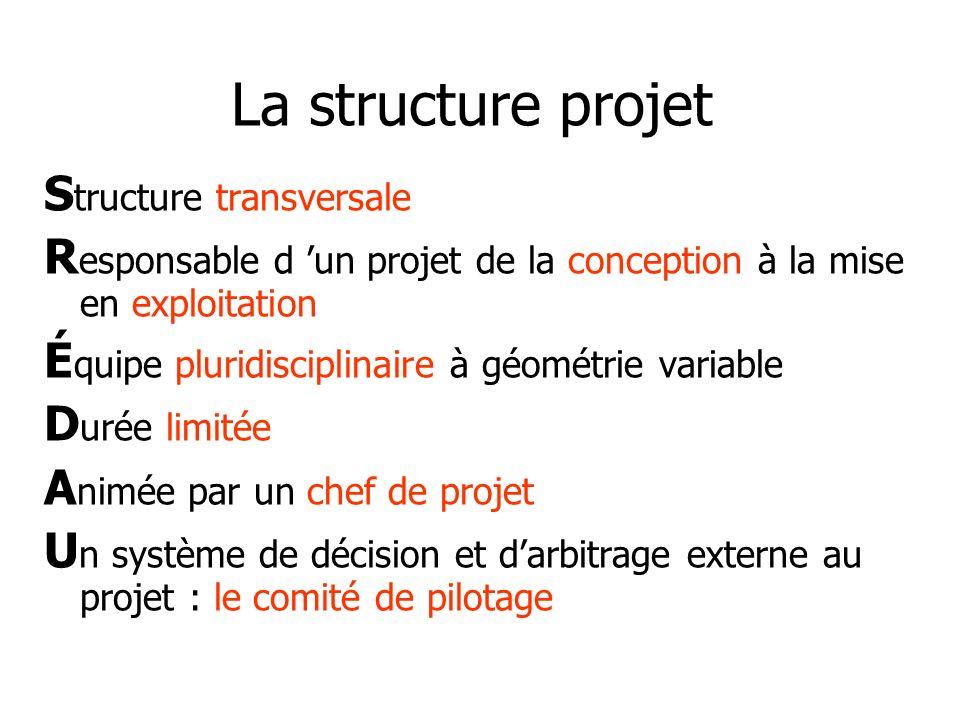 La structure projet S tructure transversale R esponsable d un projet de la conception à la mise en exploitation É quipe pluridisciplinaire à géométrie
