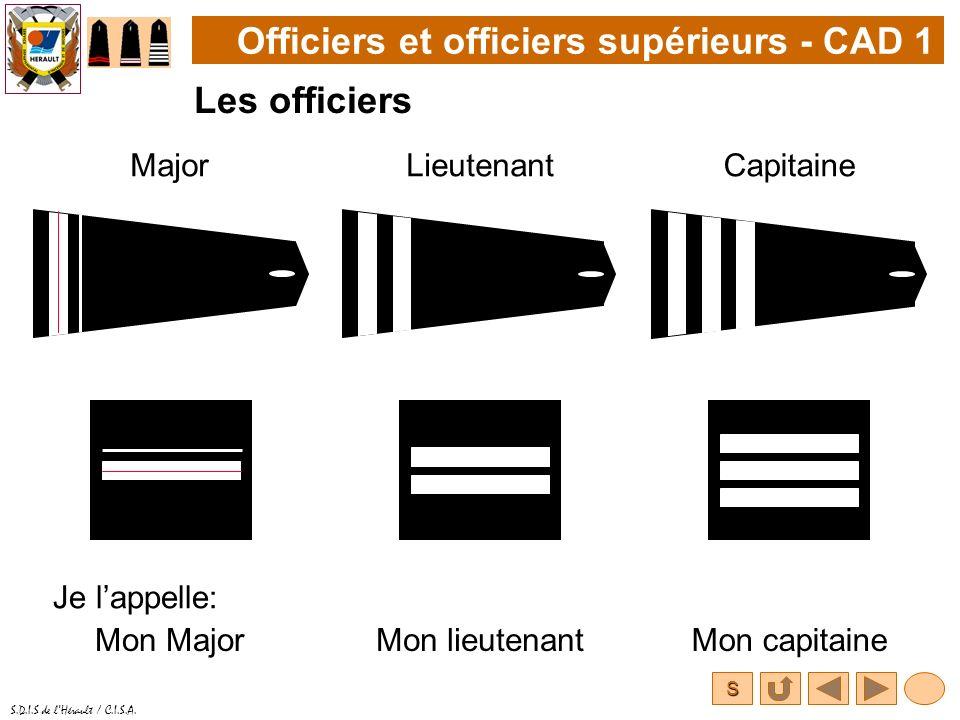 S S.D.I.S de lHérault / C.I.S.A. Officiers et officiers supérieurs - CAD 1 Les officiers MajorLieutenant Je lappelle: Mon MajorMon lieutenant Capitain