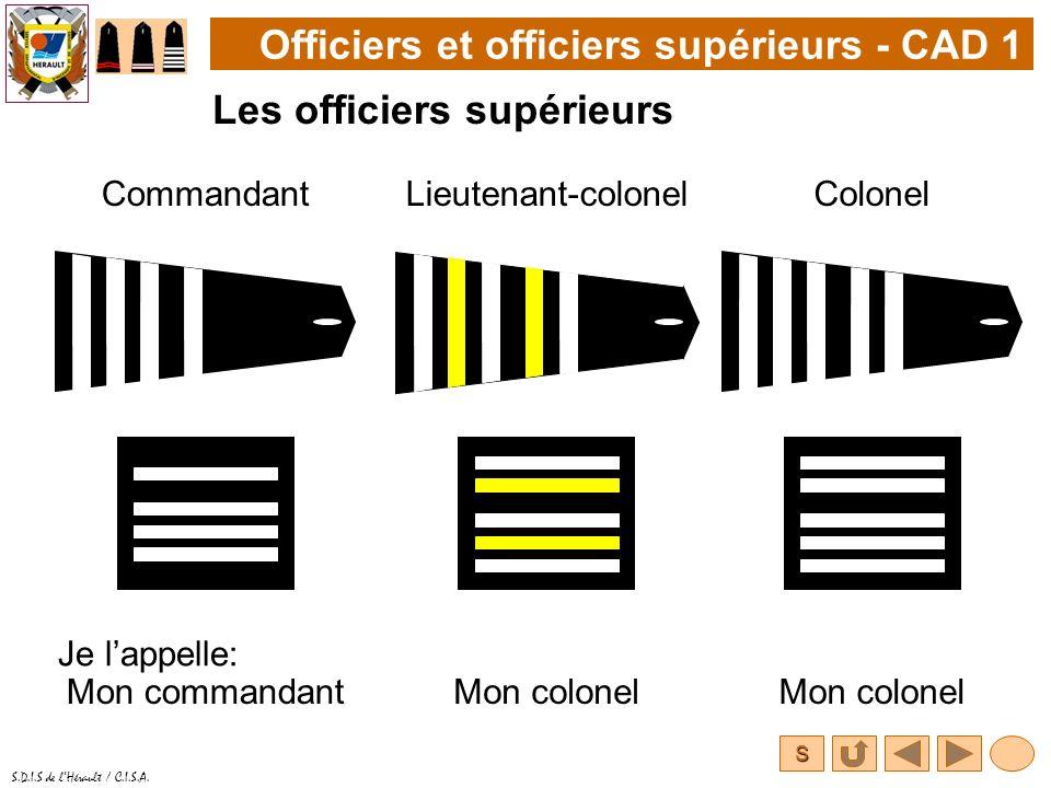 S S.D.I.S de lHérault / C.I.S.A. Officiers et officiers supérieurs - CAD 1 Les officiers supérieurs CommandantColonel Je lappelle: Lieutenant-colonel