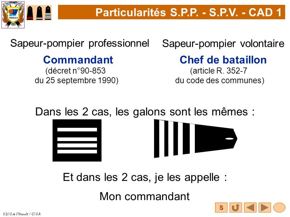S S.D.I.S de lHérault / C.I.S.A. Particularités S.P.P. - S.P.V. - CAD 1 Sapeur-pompier professionnel Dans les 2 cas, les galons sont les mêmes : Sapeu