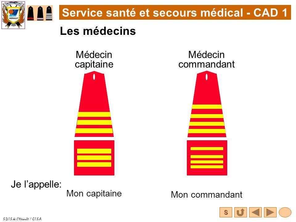 S S.D.I.S de lHérault / C.I.S.A. Service santé et secours médical - CAD 1 Les médecins Médecin capitaine Je lappelle: Médecin commandant Mon commandan