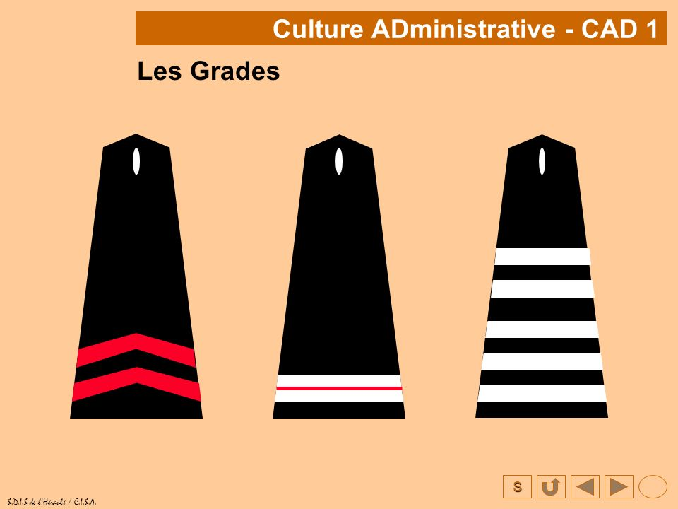 S S.D.I.S de lHérault / C.I.S.A. Les Grades Culture ADministrative - CAD 1